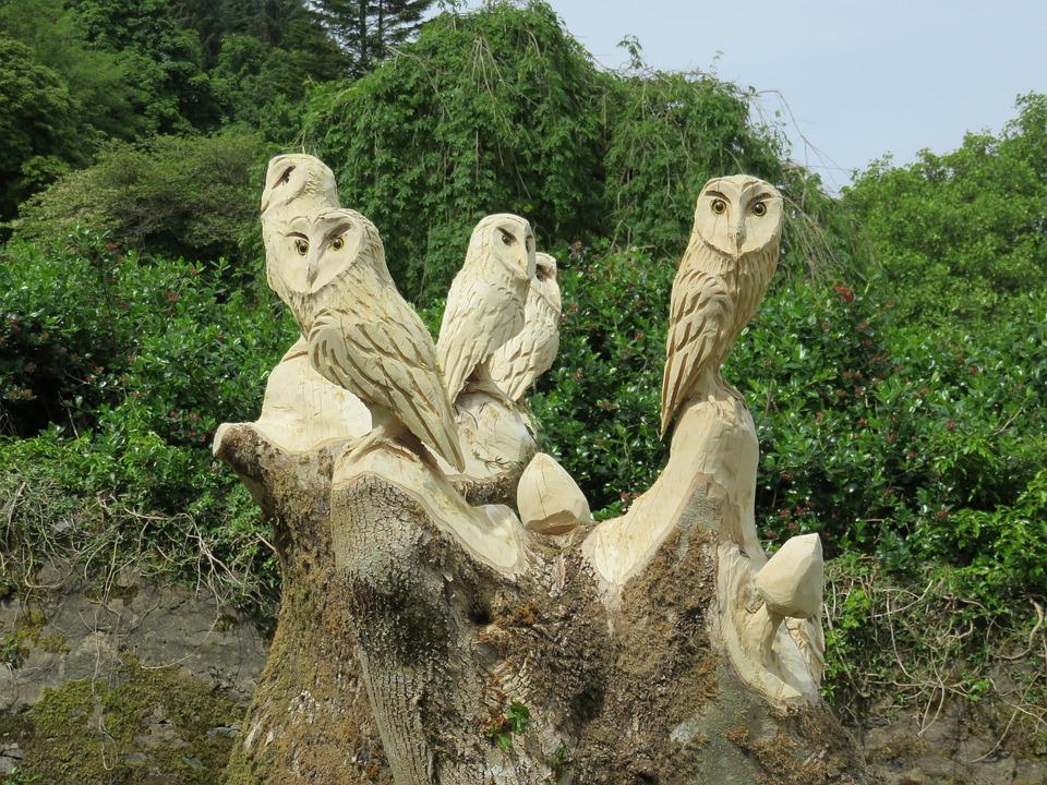 Carved Owls, Wise, Wood, Owl, Carving, Wisdom, Nature