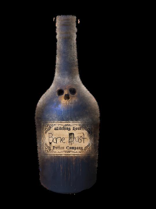 Skull, Bone, Dead, Halloween, Potion, Bottle, Witch