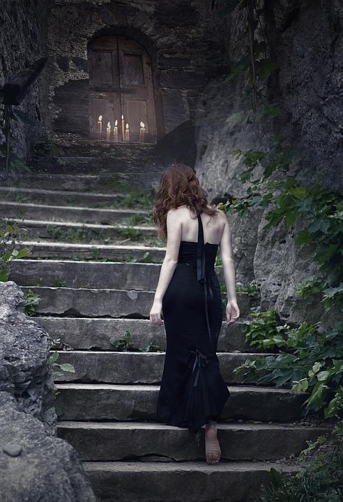 Witch, Sorceress, Fantasy, Dark, Gothic, Stairs, Door