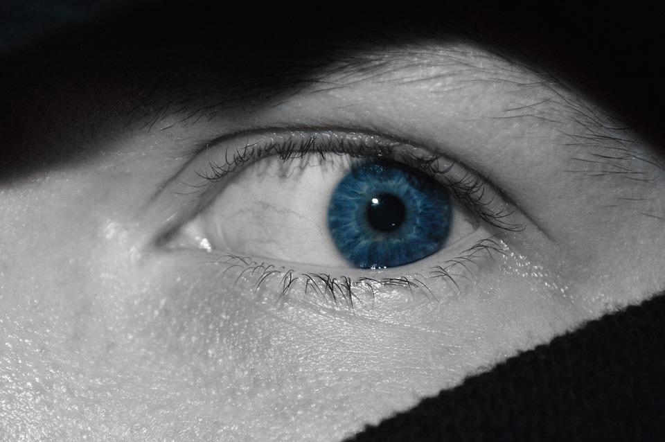 Closeup, Eye, Person, Blue, Woman, Face, Afraid, Fear