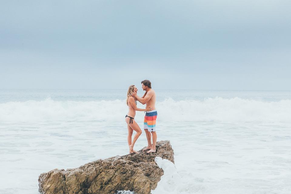Couple, Love, Woman, Girl, Man, Happy, Wave, Beach