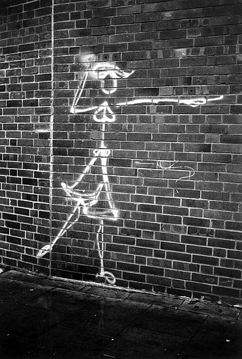 Graffiti, Woman, Black And White, Wall, Brick