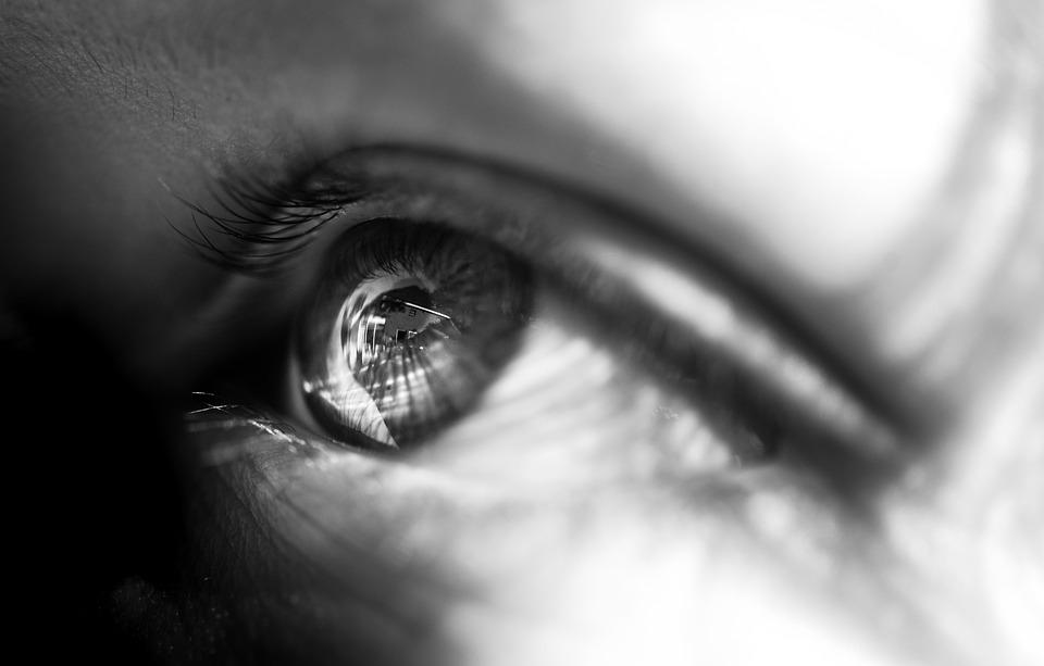 Eye, Black, White, Reflection, Face, Woman, Female