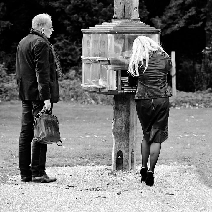 Man, Woman, Book Stall, Park, Couple, Two, Blonde
