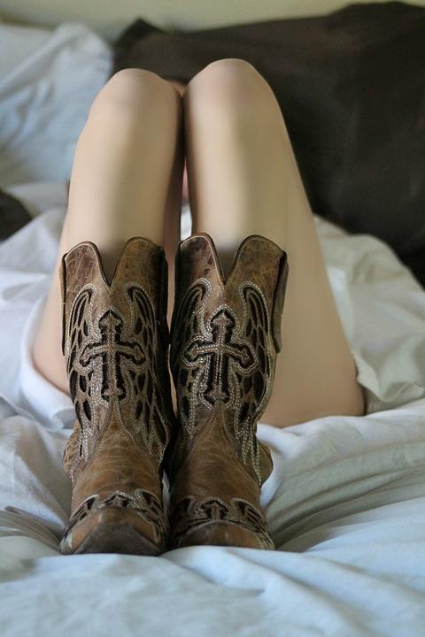 Woman, Sexy, Sensual, Bouidoir, Boots, Cowboy Boots