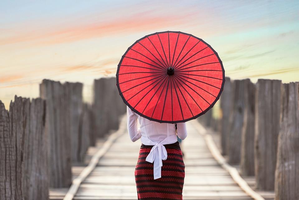 Umbrella, Asia, Myanmar, Burma, Bridge, Woman, Girl