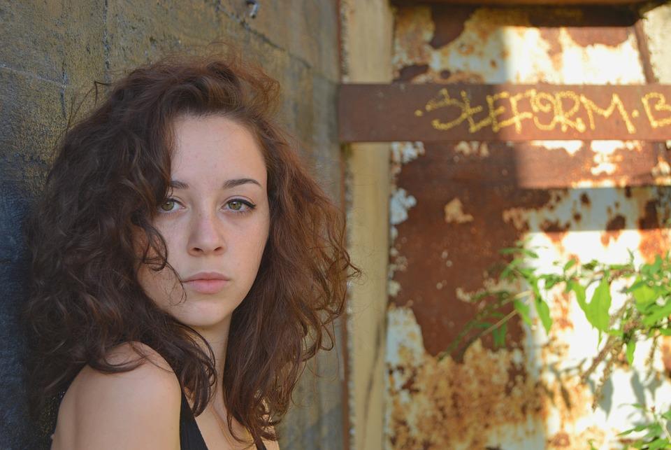 Brown Hair, Curly Hair, Girl, Woman, Rusty Metal, Wall