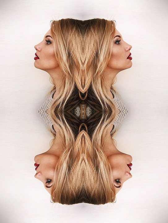 Reflection, Woman, Profile, Bust, Blond, The Effect Of