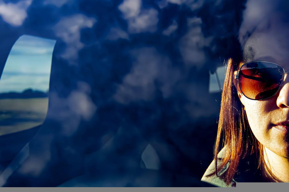 Clouds, Woman, Car