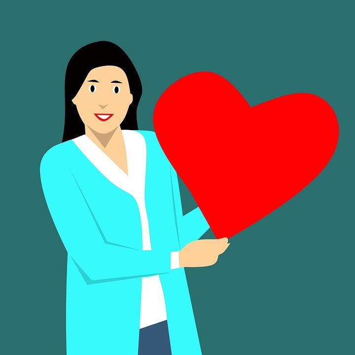 Free Photo Woman Cartoon Character Holding Symbol Love Heart Max Pixel
