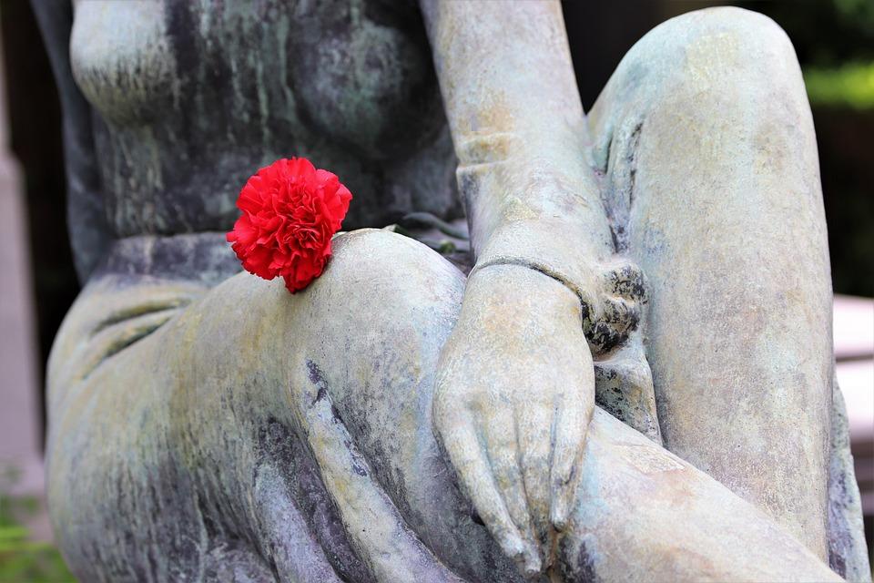 Woman, Sculpture, Red Carnation, Cemetery Mirogoj