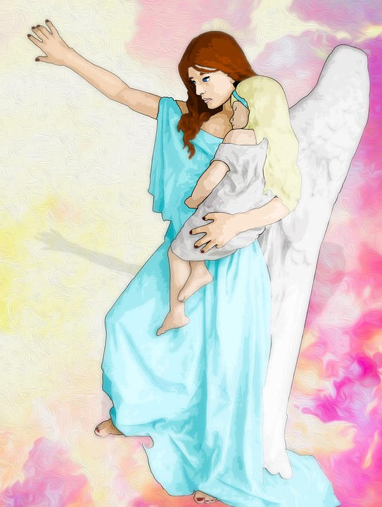 Angel, Woman, Child, Religion, Heaven, Drawing