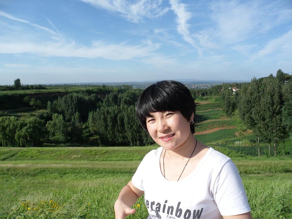 Woman, Chinese, Female, Landscape, Lady, Lake, Blue Sky