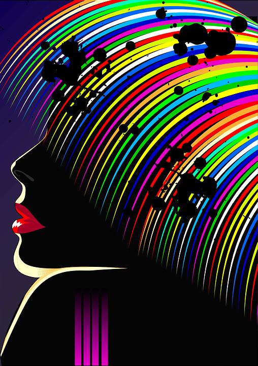 Vector, Color, Hair, Woman