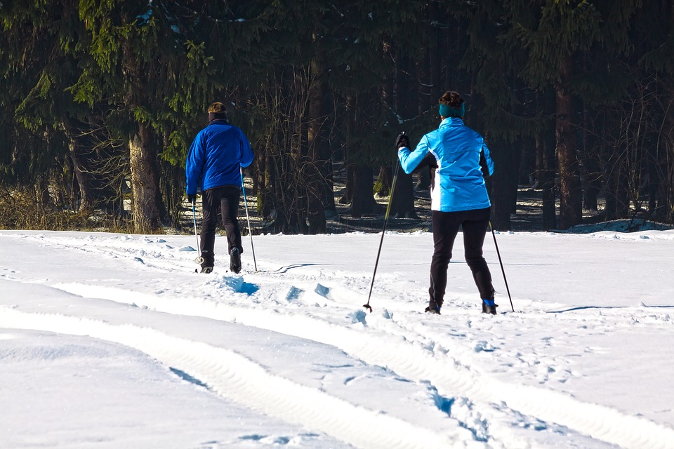 Cross Country Skiing, Man, Woman, Fitness, Endurance
