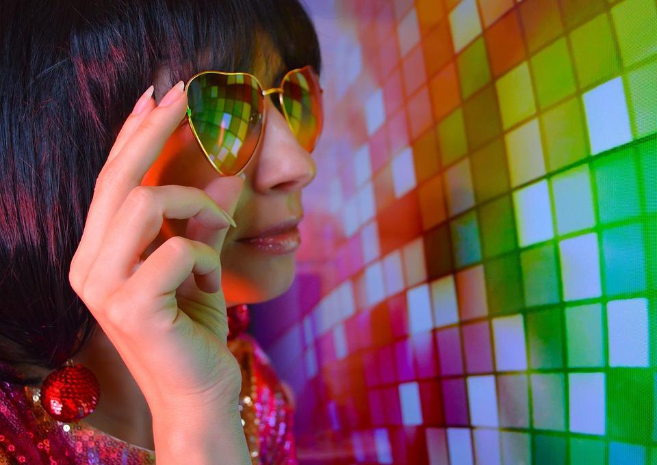 Woman, Glasses, Disco, Disco Ball, Reflection, Club