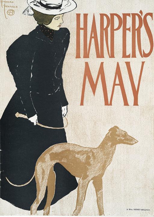 Woman, Dog, Harper's, May, Calendar, Pet, Animal