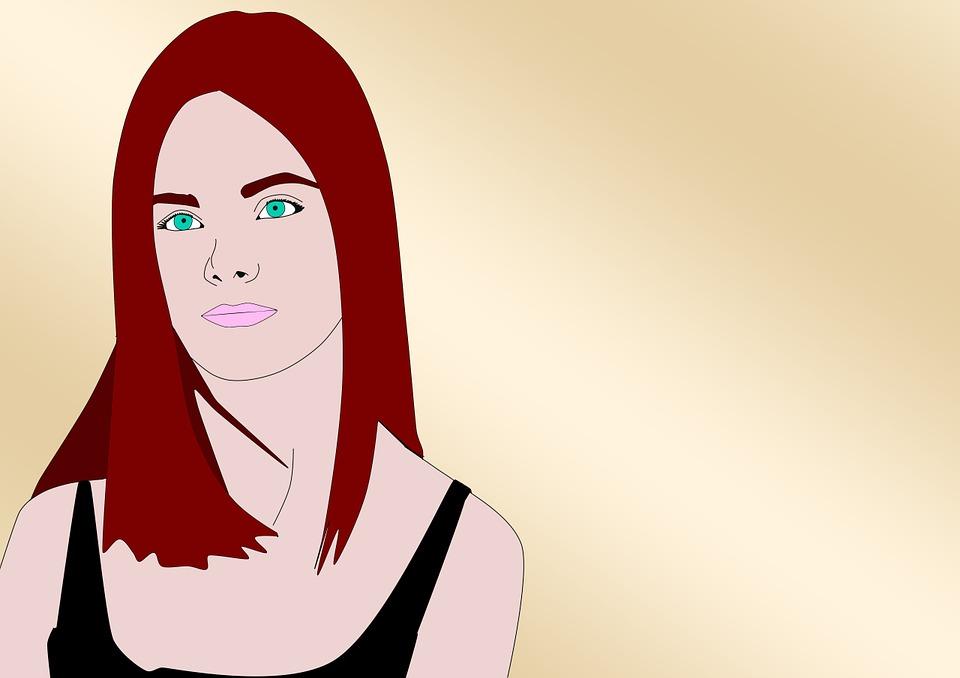 Woman, Redhead, Face, Dress