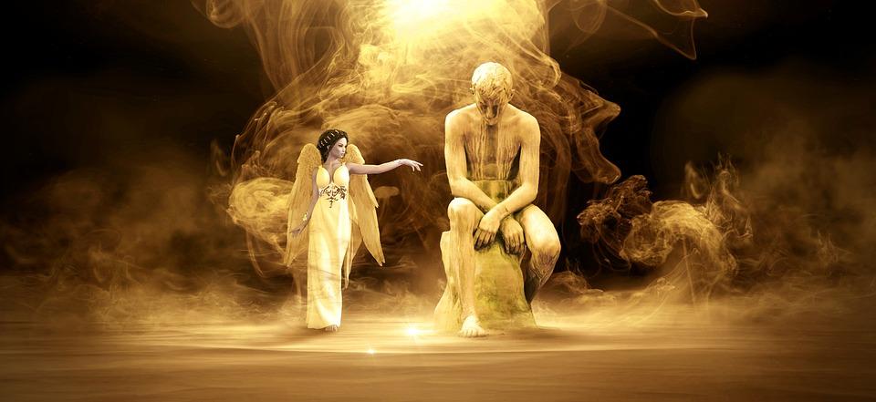 Fantasy, Scene, Light, Woman, Statue, Fantastic, Magic