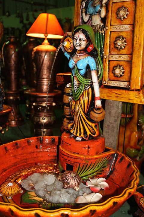 Indian, Water, Fountain, Woman, Colorful, Deco, Figure