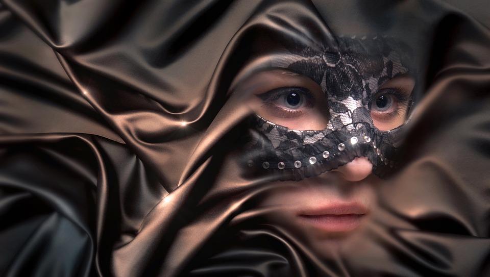 Portrait, Woman, Mask, Cloth, Fold, Face, Beauty, Girl