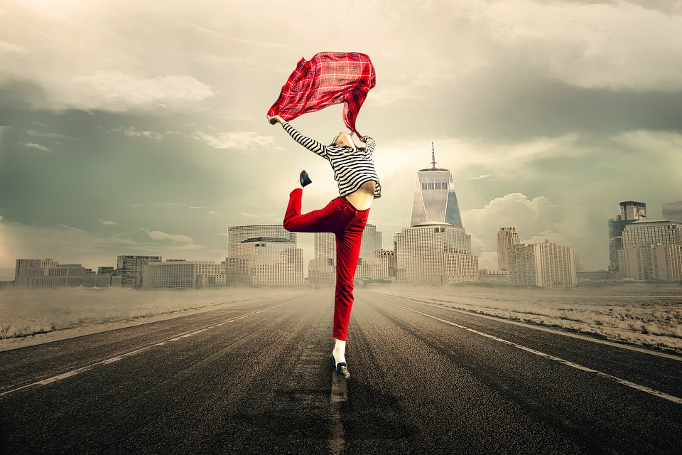 Freedom, Woman, Road, City, Happy, Girl, Young Woman