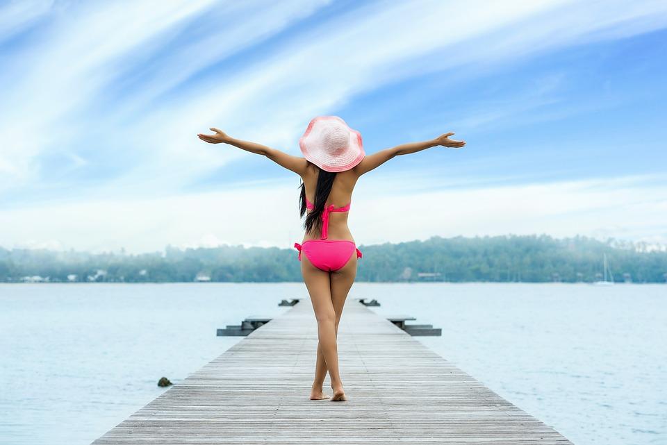 Woman, Adult, Up Arms, Freedom, Feeling, Joy, Beach