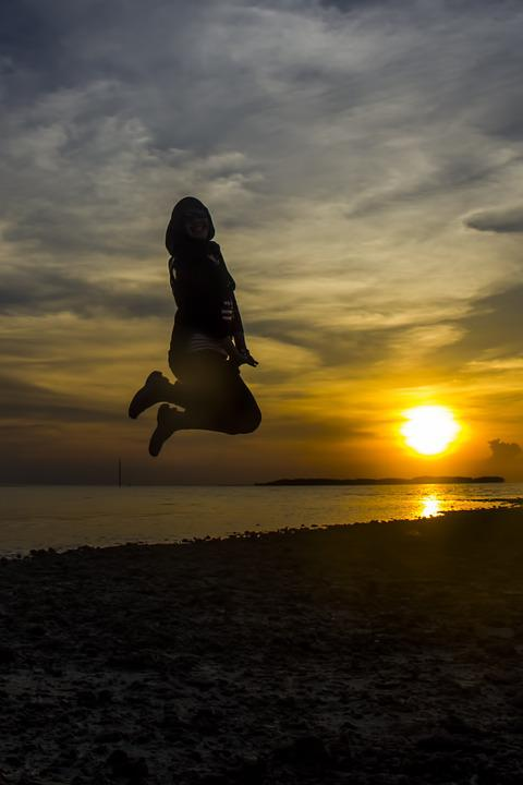 Sunset, Jumping, Beach, Woman, Action, Fun