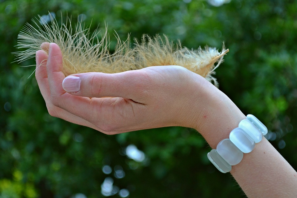 Feather, Plume, Hand, Girl, Woman, Fingers, Bracelet