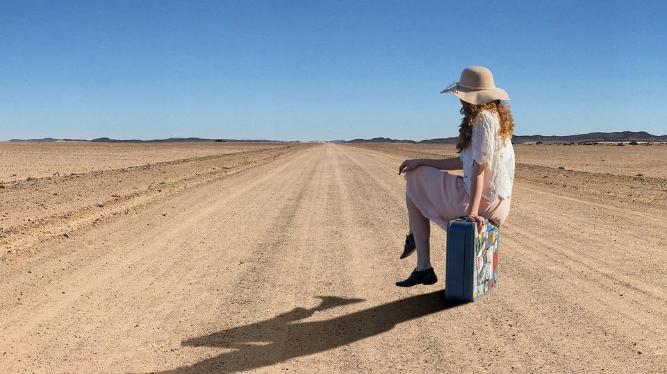 Woman, Girl, Desert, Lonely, Hat, Shadow, Sun, Space