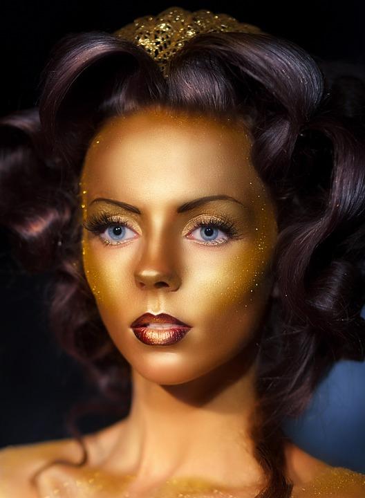 Woman, Person, Art, Gold, Golden, Glitter, Paint, Masks