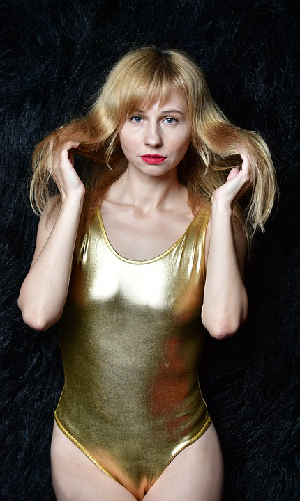 Swimsuit, Gold, Golden, Figure, Body, Girl, Woman