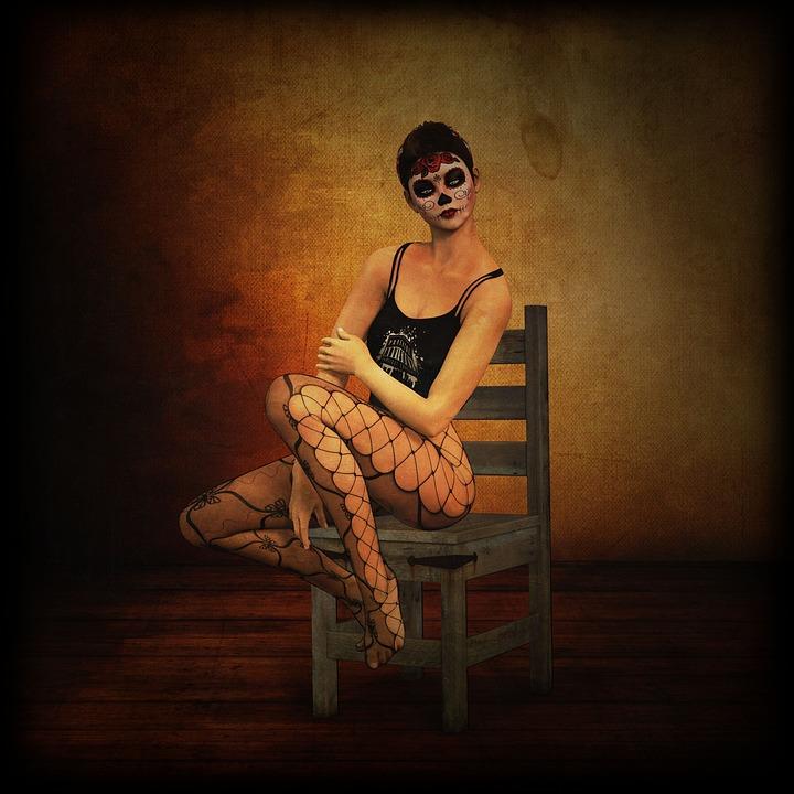 Woman, Clothing, Dark, Composing, Gothic, Punk