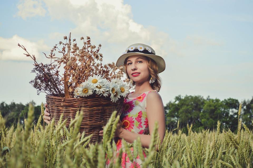 Field, Woman, Wheat, Hat, Flowers, Grass