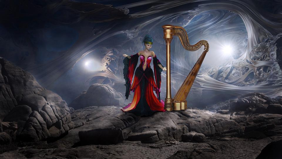 Fantasy, Harp, Cave, Woman, Mystical, Romantic