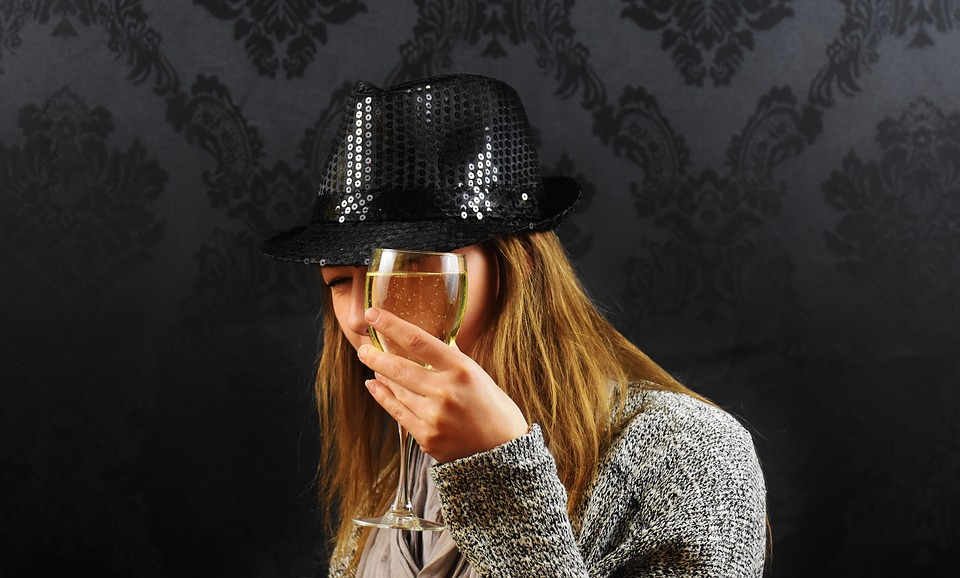 Woman, Hat, Champagne, Wine, Drink, Mysterious, Fashion