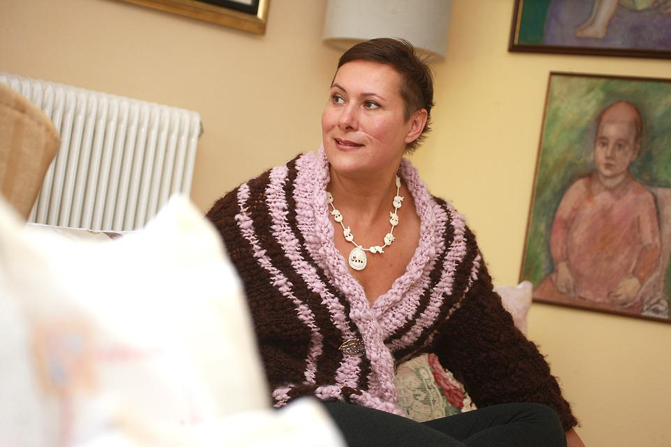 Knit, Knitting, Woman In Embroidered Coat, Hand Labor