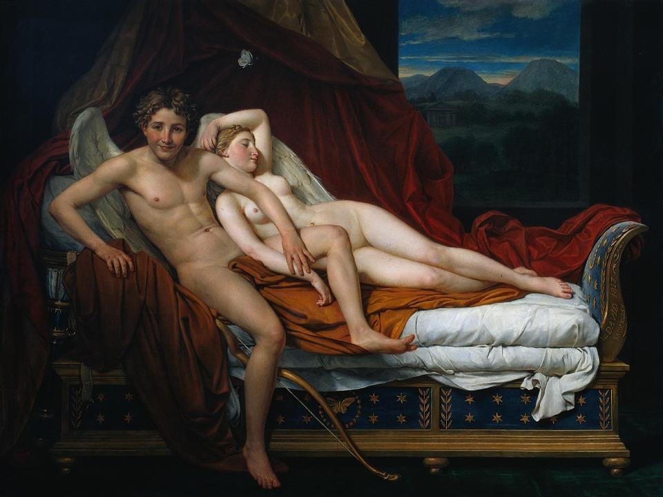 Art, Painting, Erotic, Jacques Louis David, Woman, Man