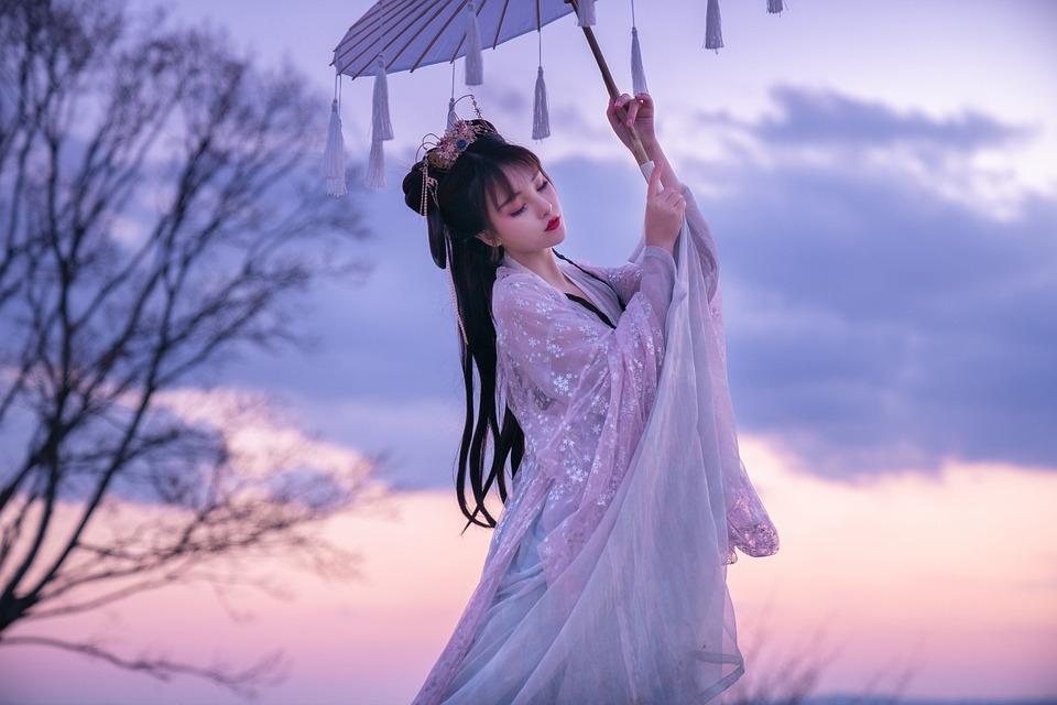 Woman, Parasol, Japanese, Kimono, Traditional Wear
