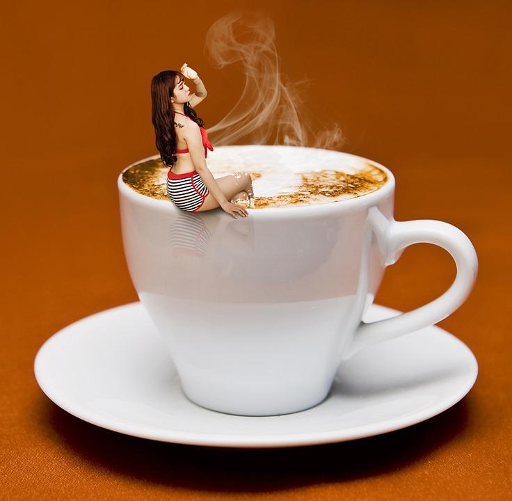 Coffee, Cup, Coffee Cup, Woman, Lady, Bikini, Pool