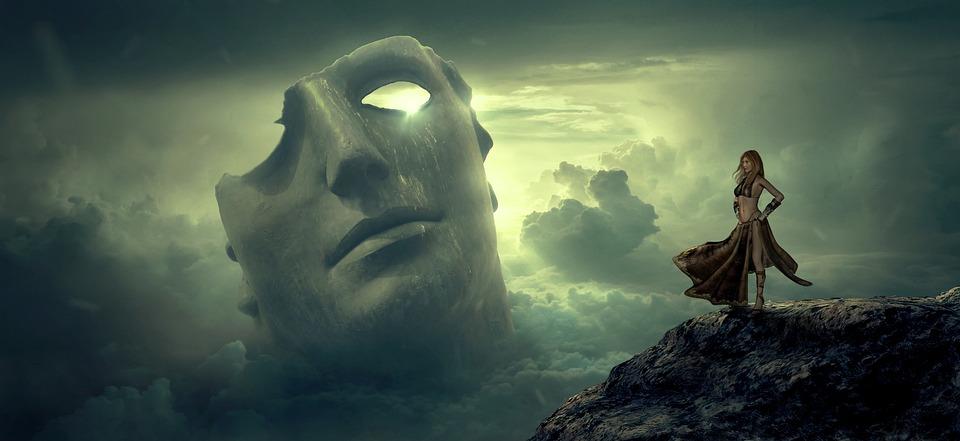 Fantasy, Mask, Clouds, Light, Woman, Rock, View