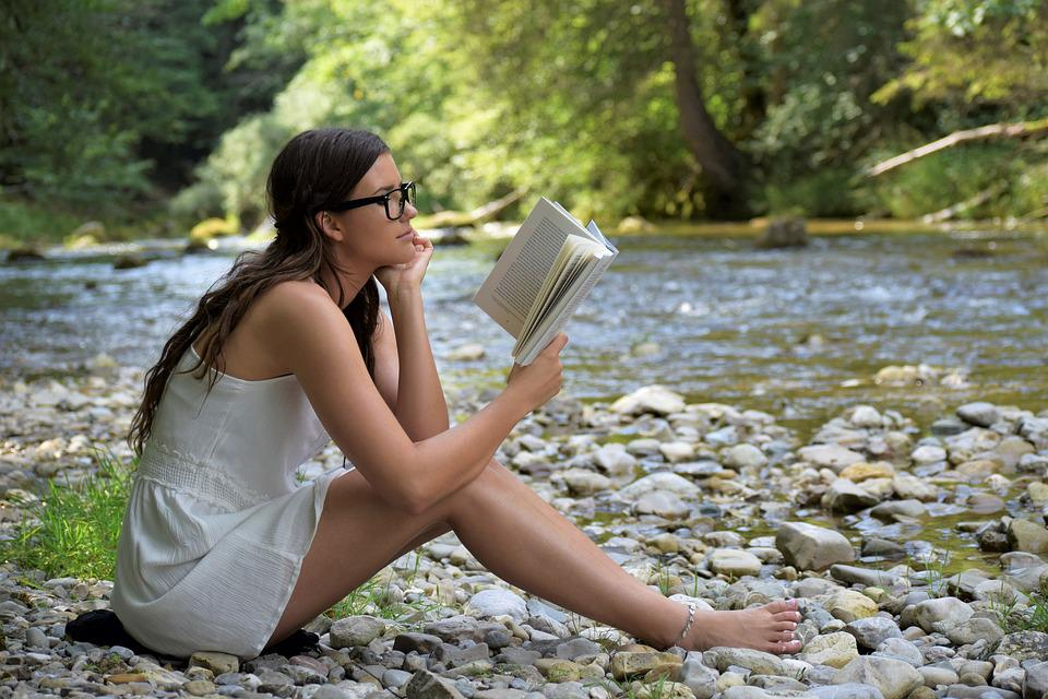 Girl, Woman, Read, Book, Sit, Nature