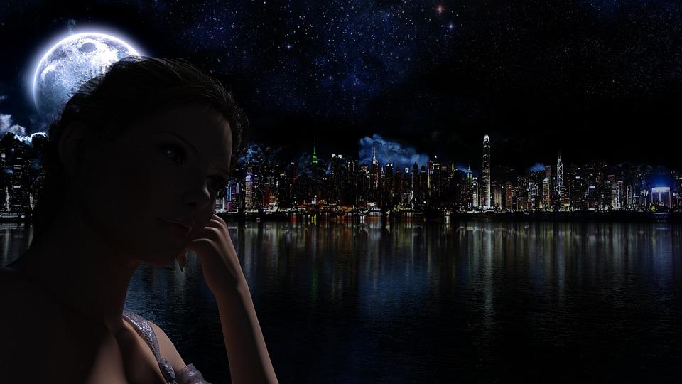 Night, Silhouette, Skyline, Moon, Moonlight, Woman