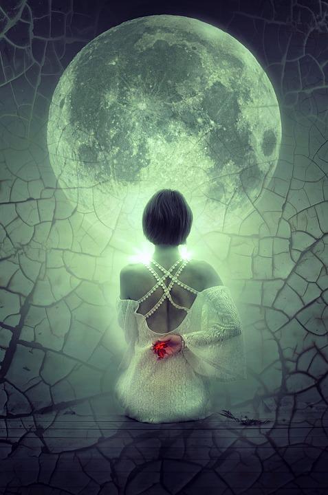 Fantasy, Moon, Woman, Sit, Mystical, Mood, Night