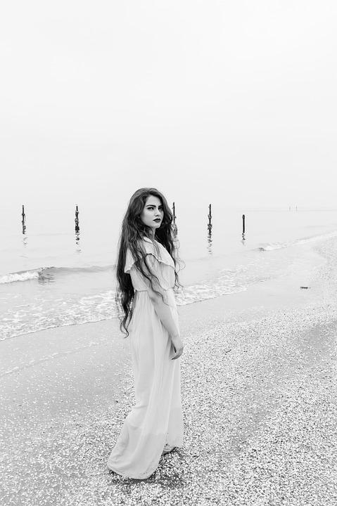 Girl, Sea, Woman, Ocean, People, Water, Beach, Female