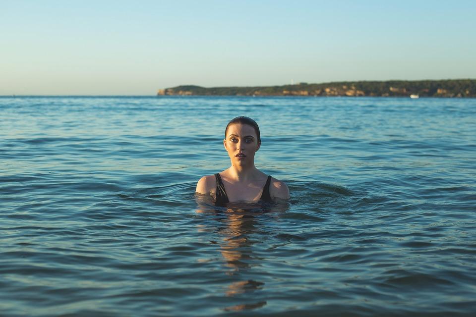 Woman, Model, Sea, Ocean, Person, Water, Bathing