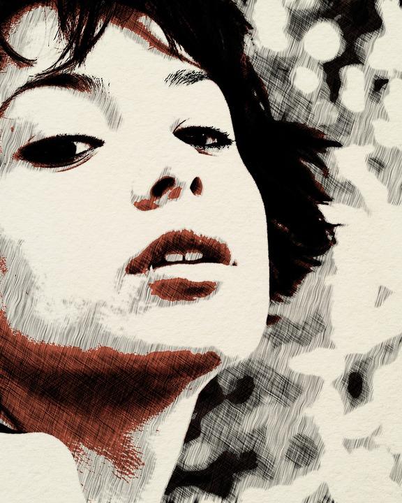 Portrait, Face, Mask, People, Woman, Sketch, Ink