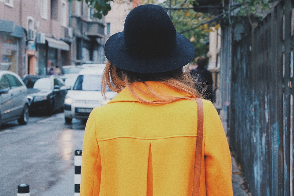 Person, Woman, Young, Style, Fashion, Yellow, Coat, Hat