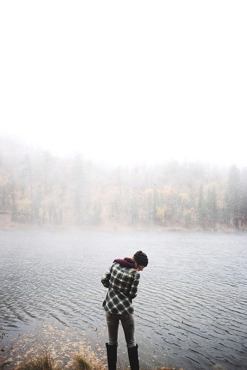 Lake, Woman, Fog, Mist, Landscape, Person, Outdoors