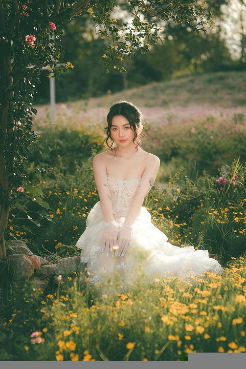 Woman, Portrait, Ai Yem, Dress, Flowers, Outdoors